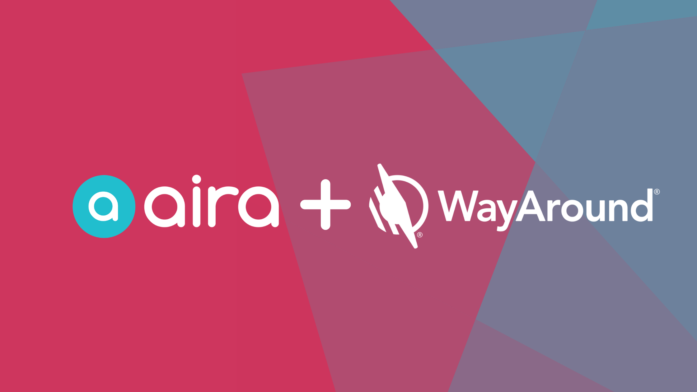 Banner image with red and blue background that says aira + WayAround. Image includes both companies' logos.