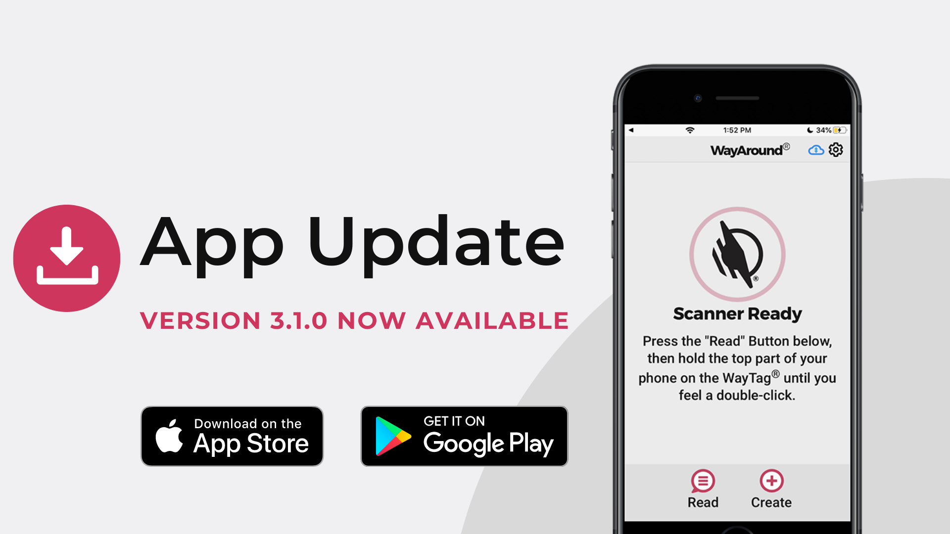 Gray background with a smartphone showing the WayAround app. Text says App Update Version 3.1.0 Now Available. There are icons for the Apple App Store and Google Play Store