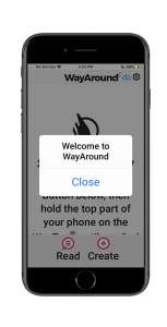 Screenshot of the WayAround app with a Welcome To WayAround popup in large font.