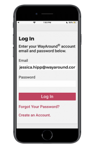 Screenshot of the Sign In Screen for the WayAround App