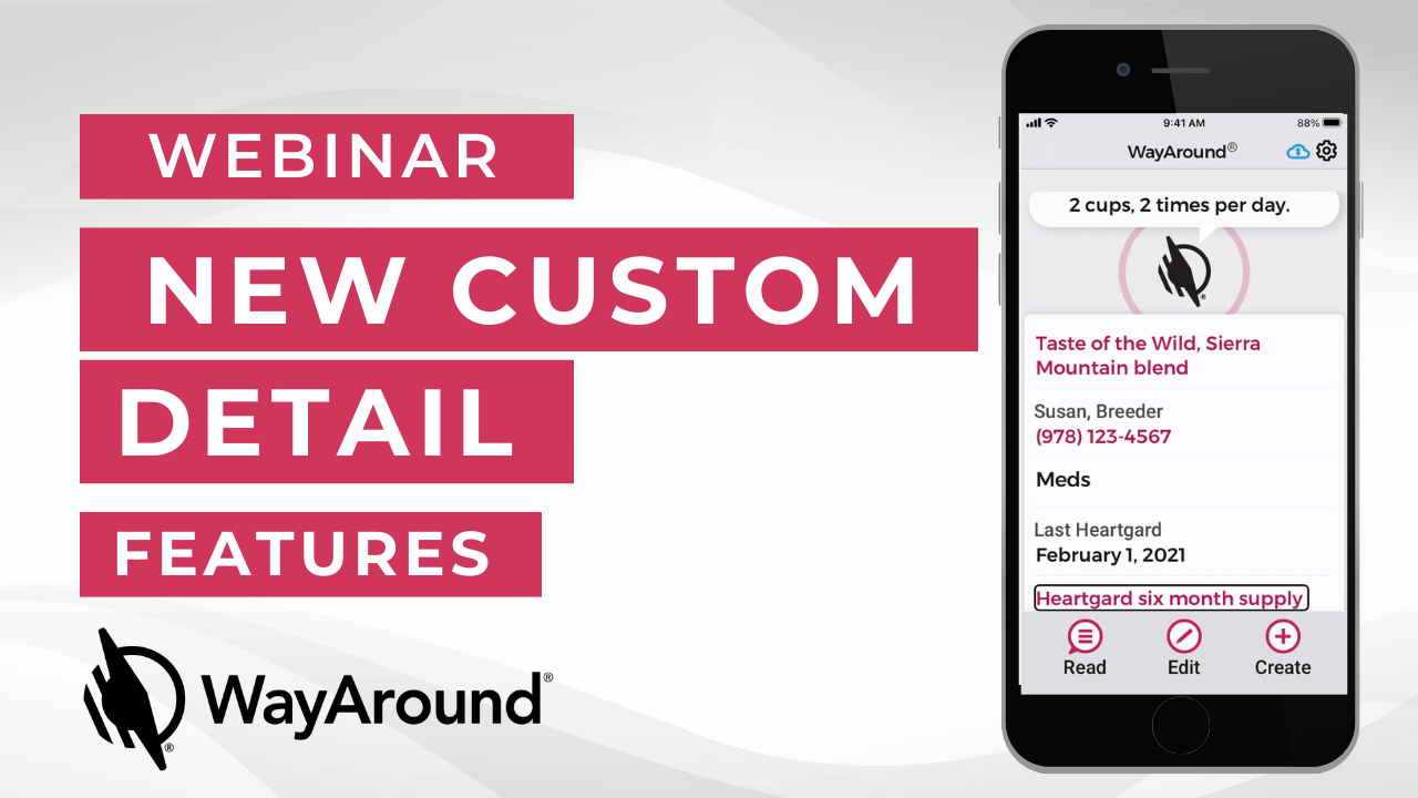 Image with a gray background and a photo of an iPhone with the WayAround app. Text Says webinar New custom detail features.