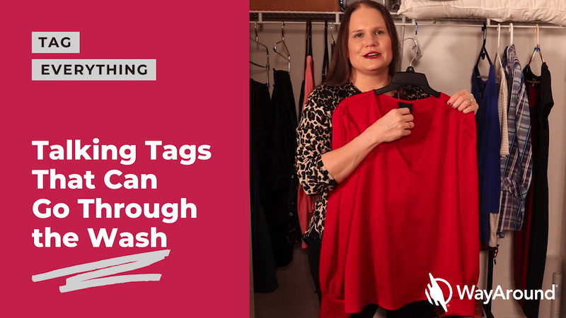 Photo of a woman holding a red shirt. Text says Talking Tags that can go through the wash.