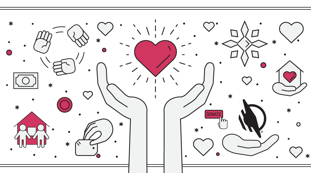 Various giving images - two hands holding a shining heart in center surrounded by hands, hearts and snowflakes