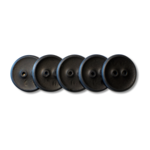 Five buttons in a row. Each button has two holes and is black.