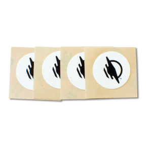 Four round WayTag stickers with black WayAround logo, in a row.