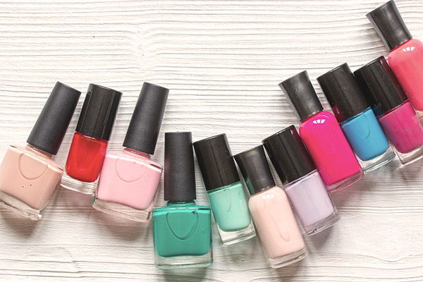 Nail polish bottles with multiple shades.