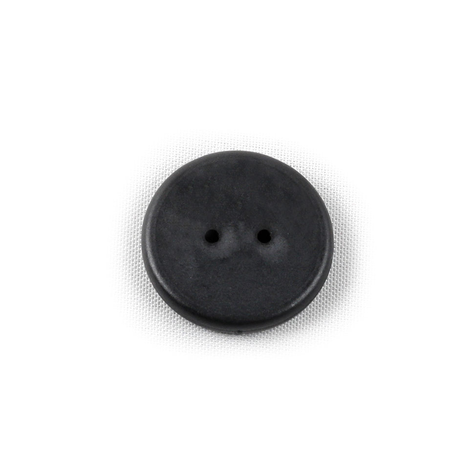 A black two hole button
