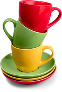 Photo of red, yellow, and green plates and mugs stacked on top of each other