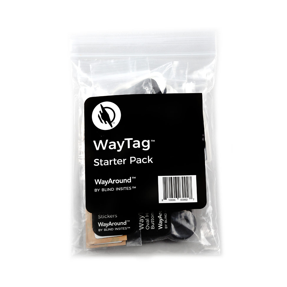 A resealable bag containing all of the Starter Pack WayTags.