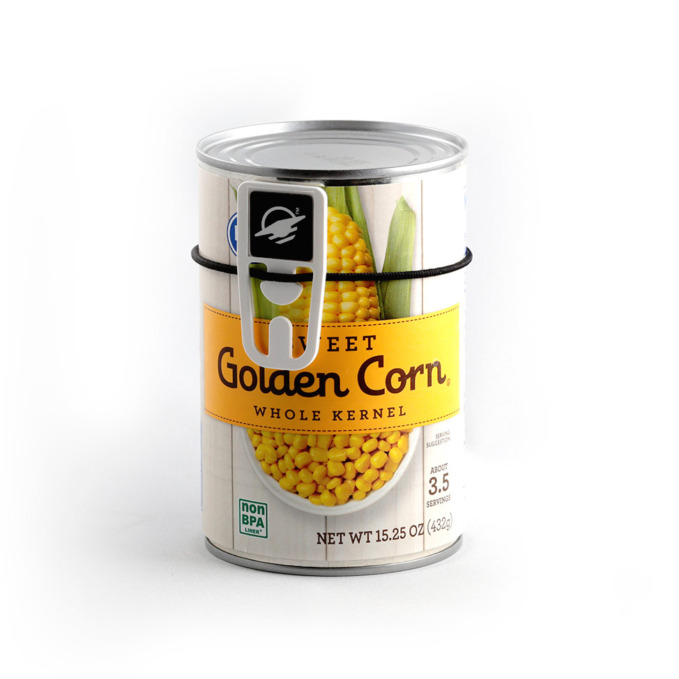 Square top WayClip attached with a hair tie to a can of corn