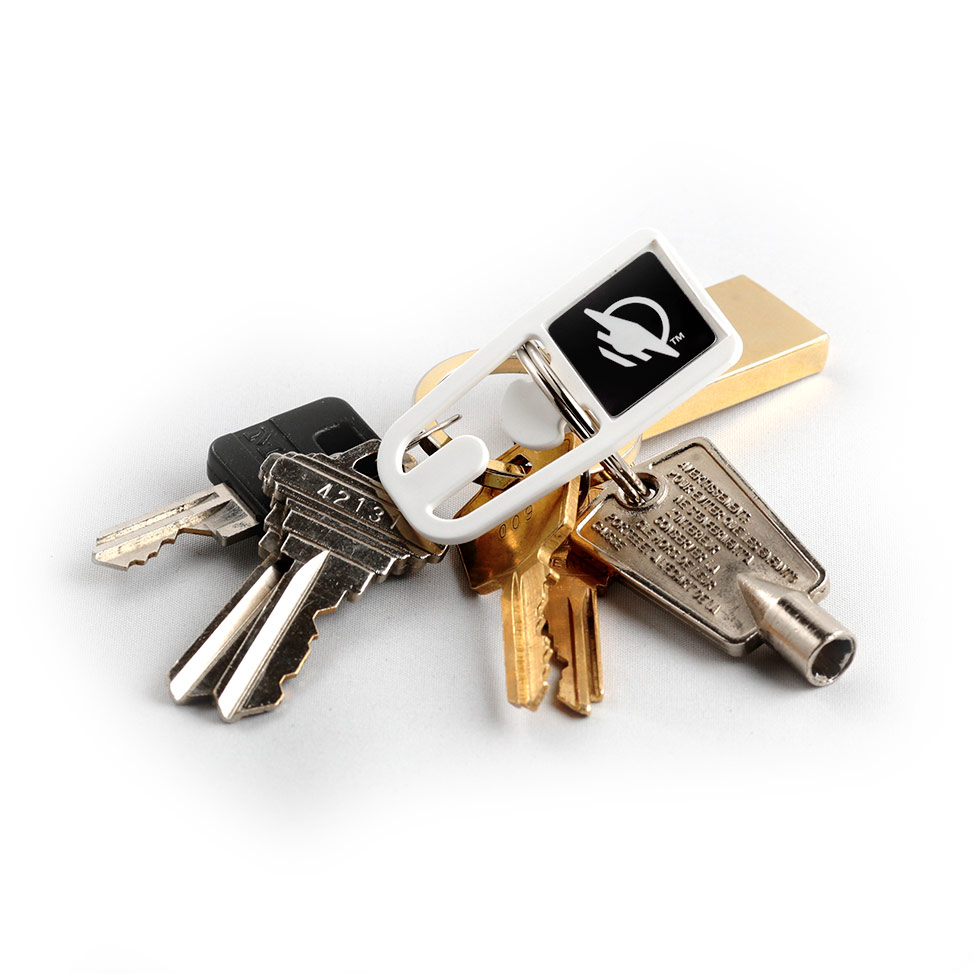 Square top WayClip attached to a set of keys