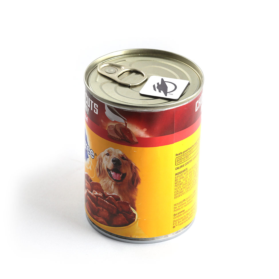 Square WayTag magnet attached to the top of a can of dog food